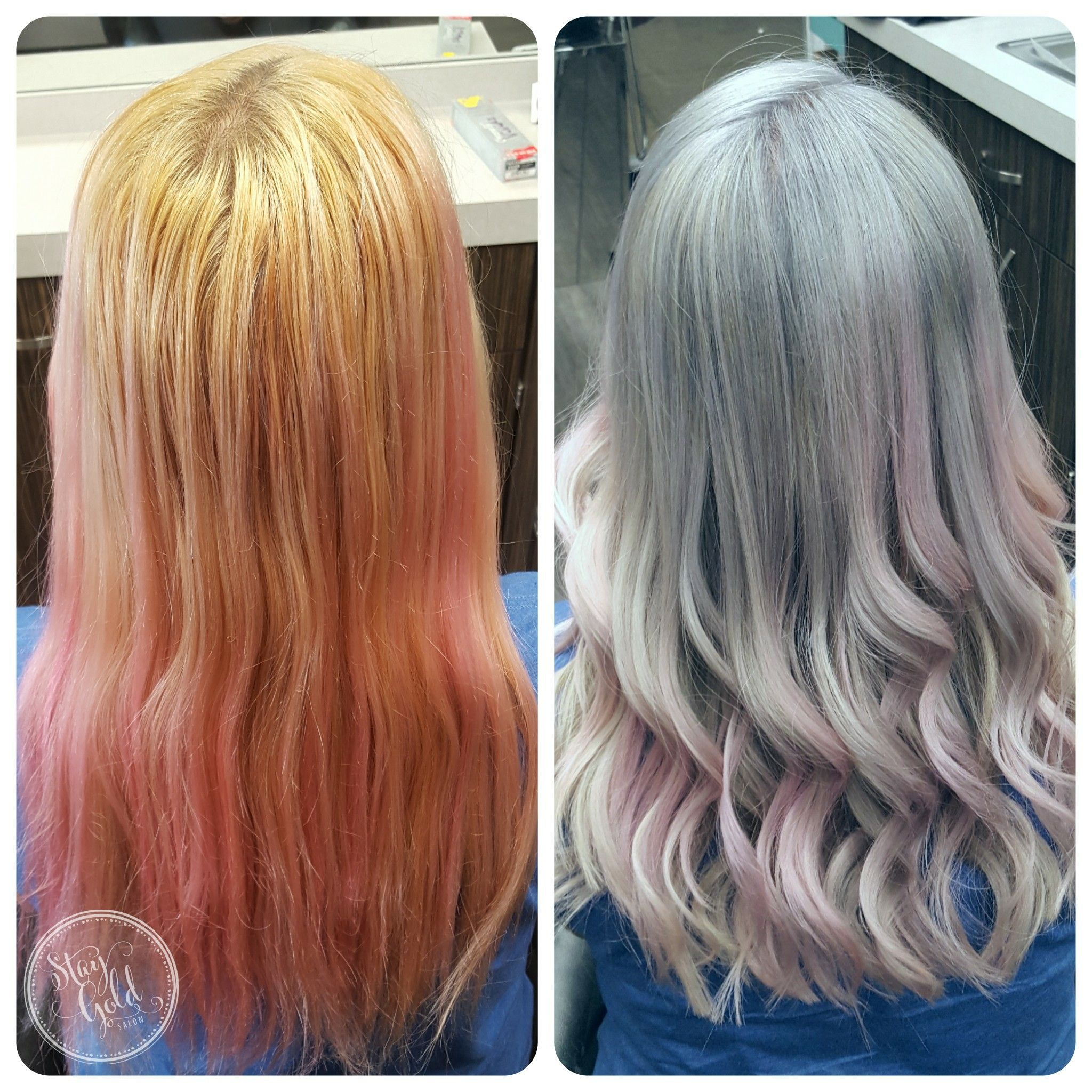 Color Correction From Brassy Blonde And Faded Pink To A Cool Toned Silver To Baby Pink By Julie Mueller At Stay Gold Sal Vivid Hair Color Granny Hair Pink Hair