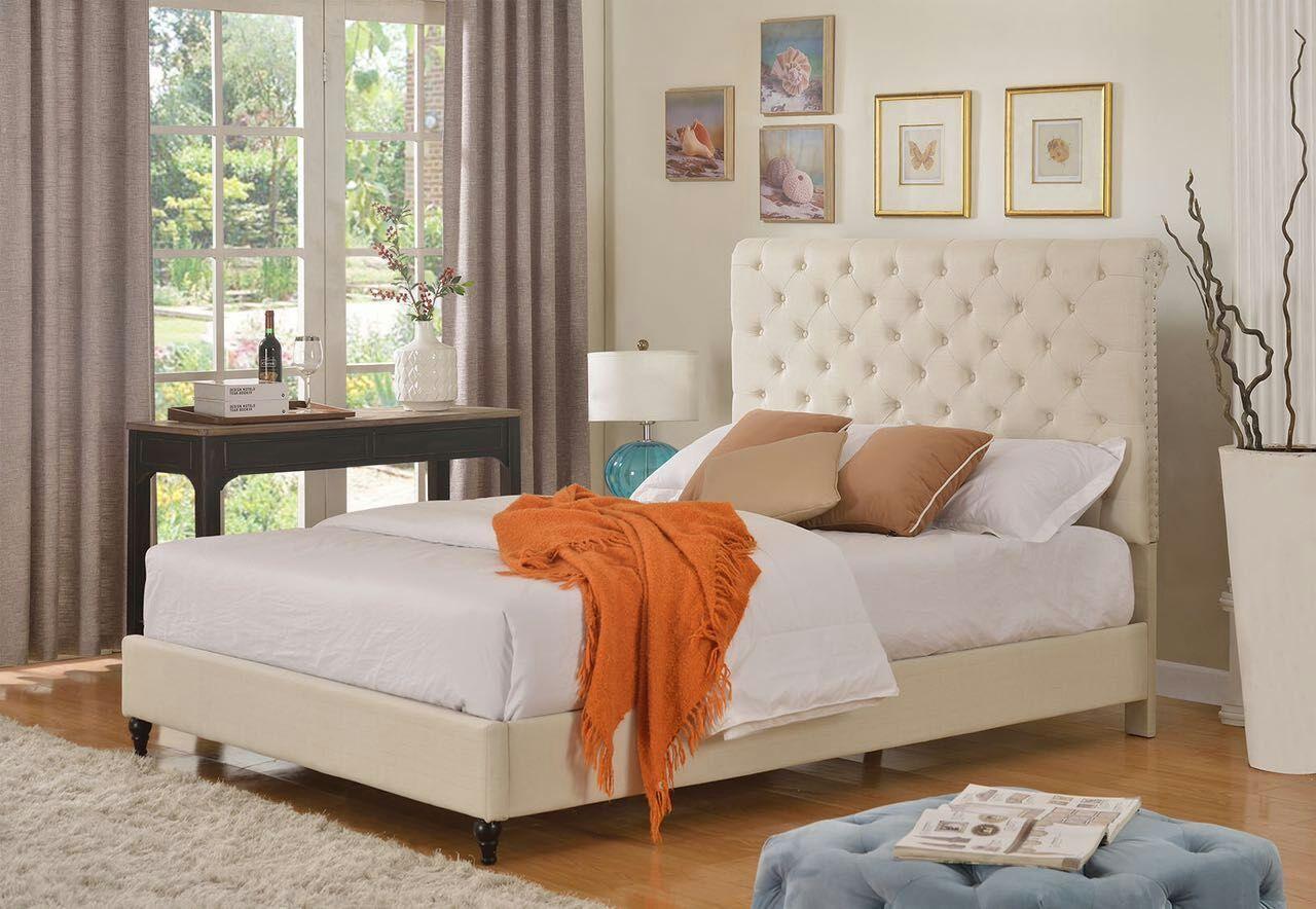 """HomeLife® 48"""" Light Beige Studded Platform Bed Frame"""
