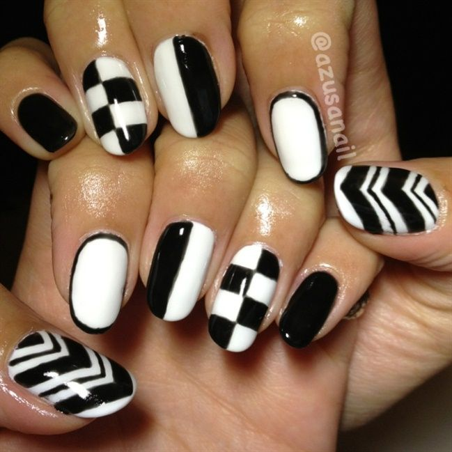 Black and white nails bold and sassy pare with a neon outfit or just check out the unique and also the latest black and white nail art designs it is seen that the combination of black and white nail art has all the prinsesfo Images