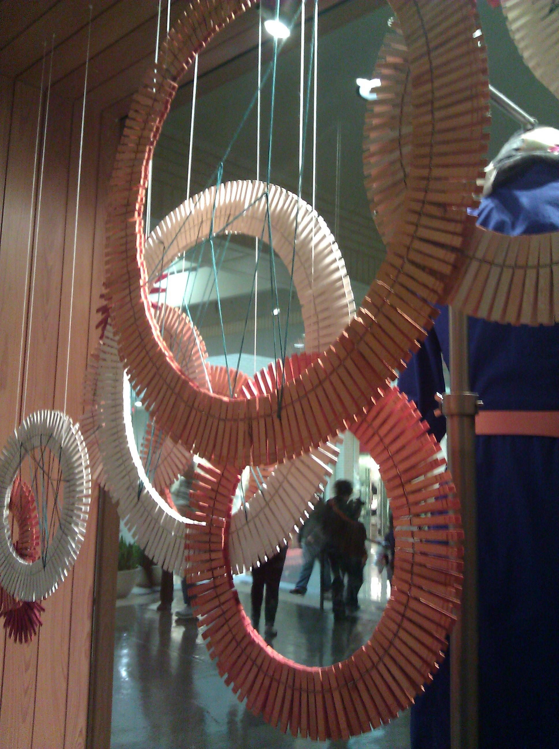 Clothes pin art in Anthropologie window we could do that