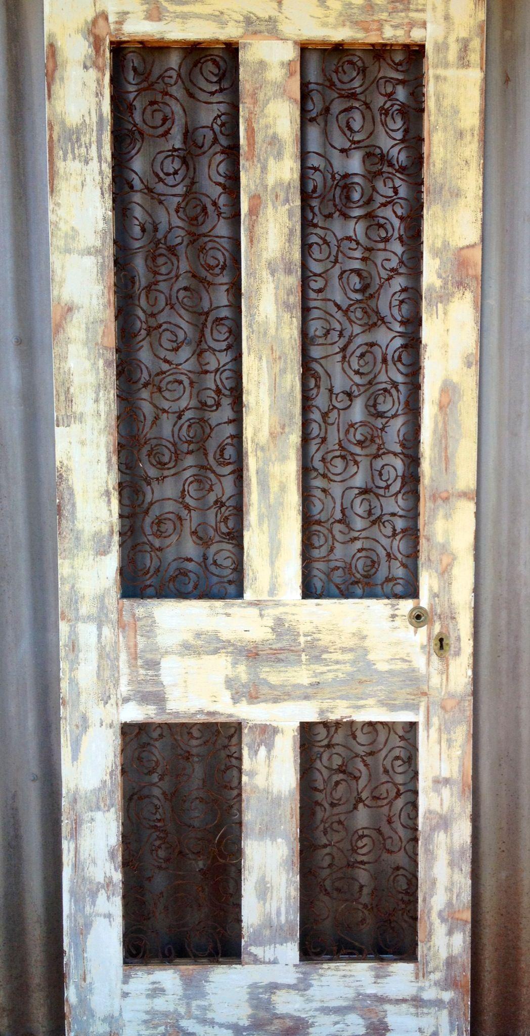 Barb Wire Door Wall Art Could Do That To Screen Door 12 Gauge
