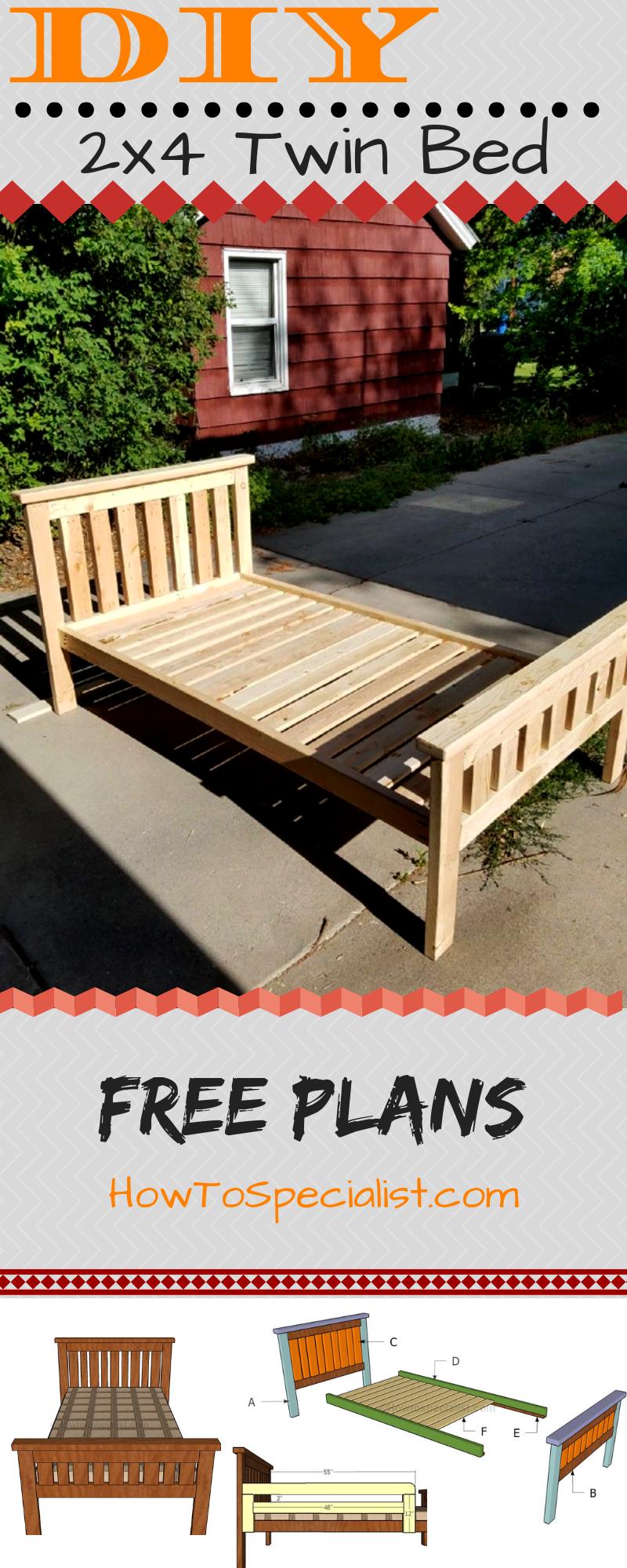 2×4 Bed Plans Diy twin bed frame, Bed frame plans, Diy bed