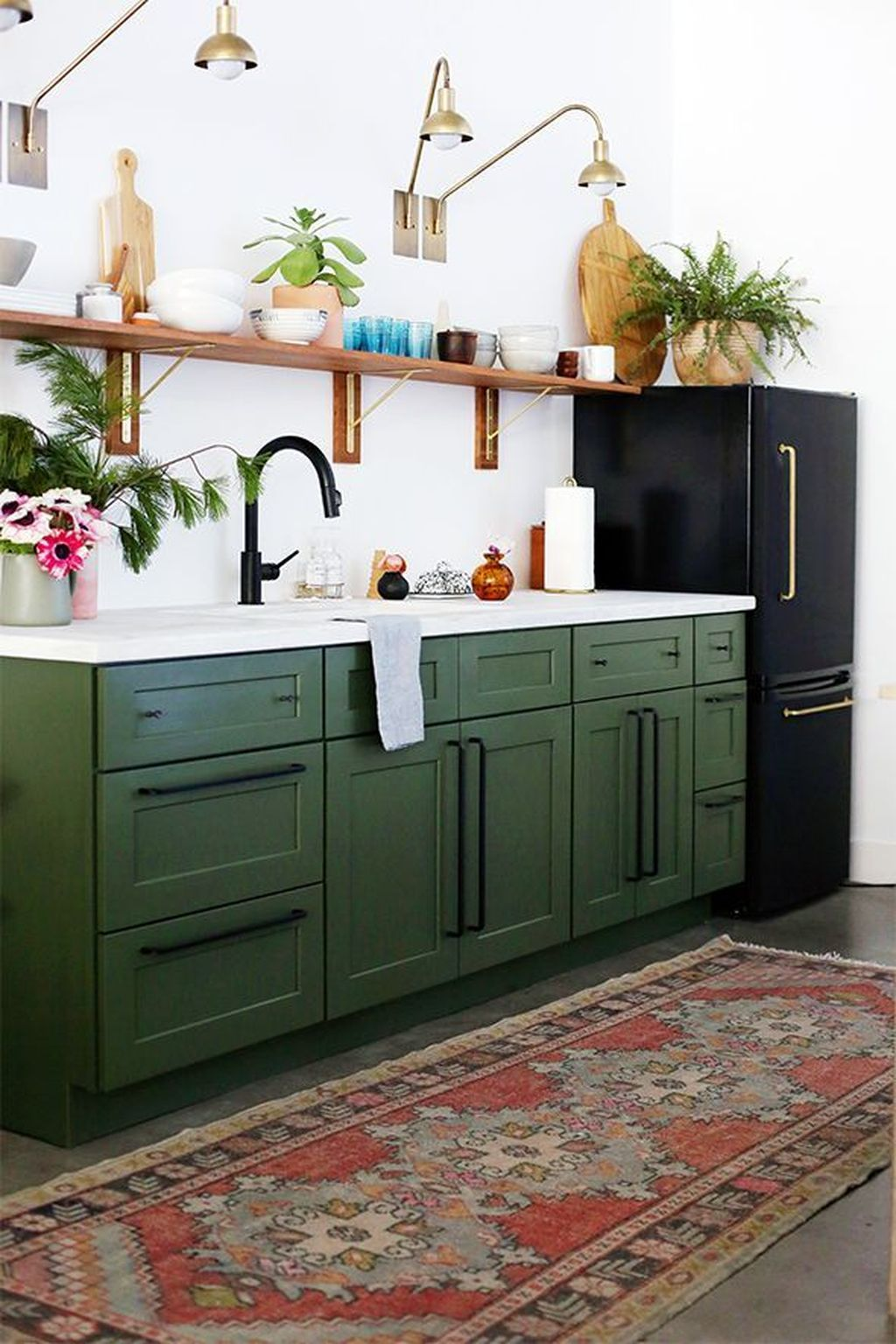 30 Lovely Colorful Kitchen Decorating Ideas Green Kitchen Cabinets Cheap Kitchen Makeover Kitchen Renovation