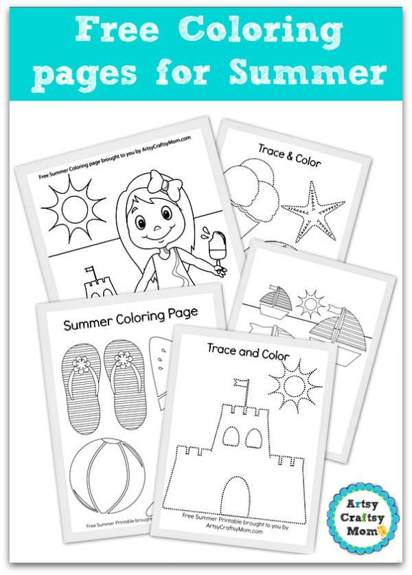 Free summer Coloring pages for kids  - 5 sheets of summer fun - trace and color . sandcastle coloring,little girl  at the beach coloring, icecream coloring, summer sailing boats