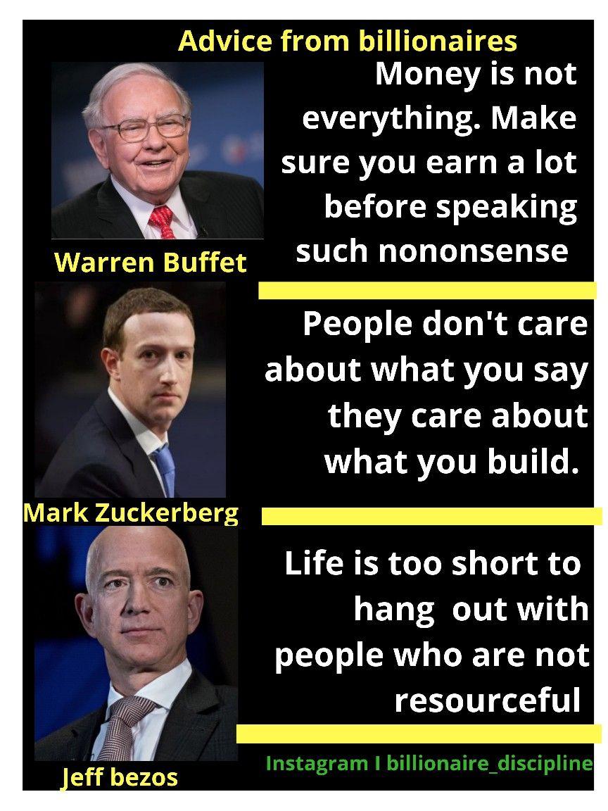 Billionaire Advice Motivational Quotes Positive Inspirational Quotes Motivation Positive Quotes