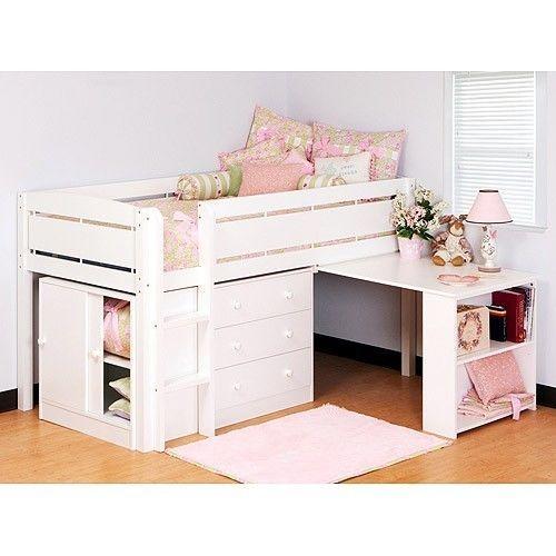 Loft Bunk Bed Set 4 Piece Solid White Desk Kids Storage