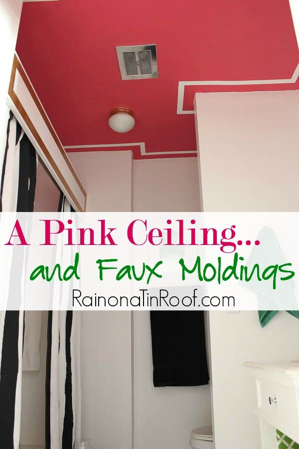 Pink Painted Ceiling With Diy Faux Moldings Ideas How To Paint A Tips For Painting Color