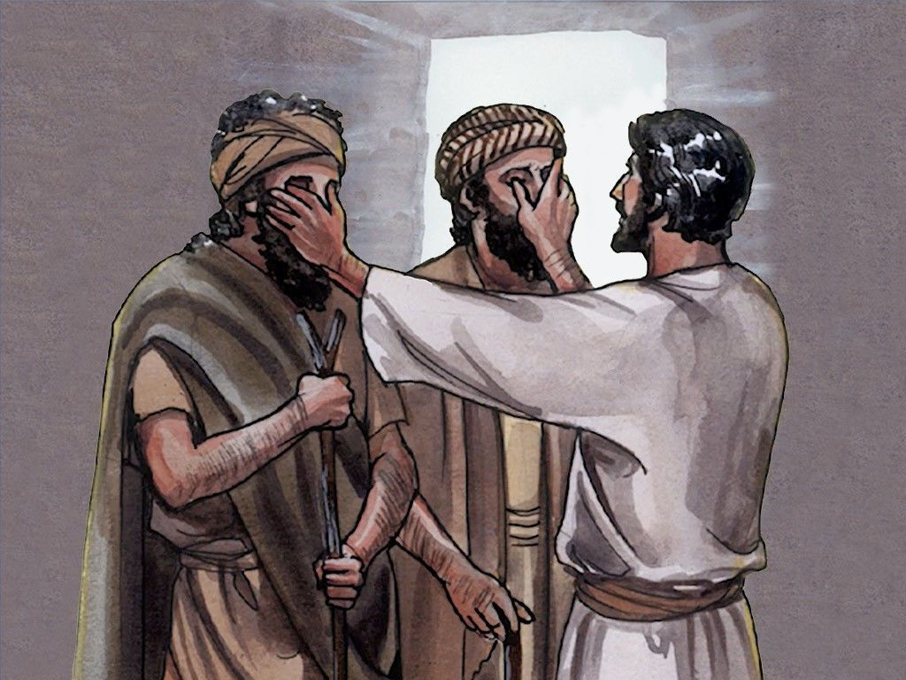Free Visuals Jesus Heals Three Men Two Were Blind And The Other