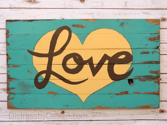 Love and Heart Sign Love SignsWood Sign by DistressbyDesign