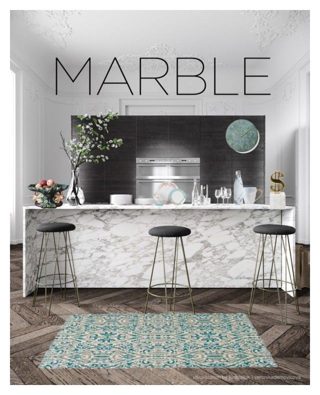"""marble kitchen"" by jademss994 ❤ liked on Polyvore featuring interior, interiors, interior design, home, home decor, interior decorating, Jonathan Adler, Minimal, S'well and kitchen"