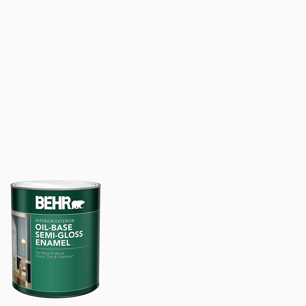 Behr 1 Qt White Oil Base Semi Gloss Enamel Interior Exterior Paint 380004 The Home Depot In 2020 Behr Premium Plus Interior Paint Premium Plus