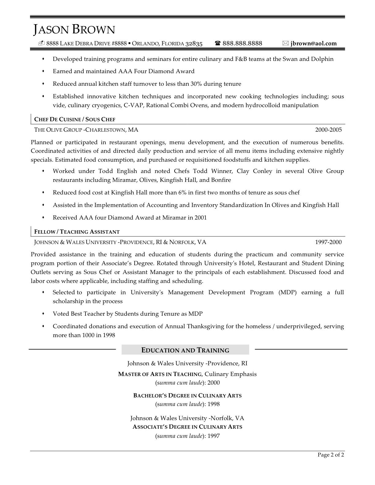 Executive Format Resume Template Chef Cook Resume Examples  Httpwwwjobresumewebsitechefcook