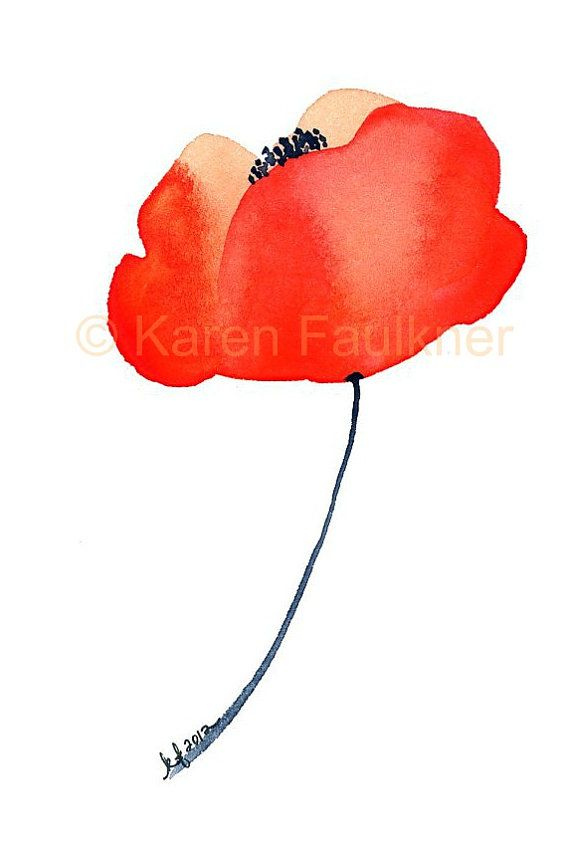 Orange Poppy original watercolor flower by karenfaulknerart, $20.00