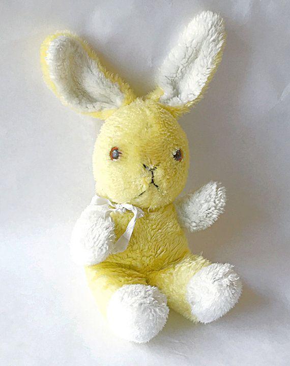 1960s Plush Bunny Sweet Well Loved Vintage Yellow Stuffed Toy Rabbit Bun Bun Atlanta Novelty A Division Of Gerber Bunny Plush Rabbit Toys Bunny