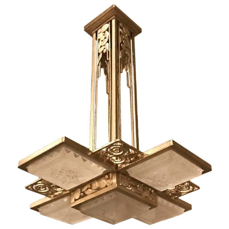 French Art Deco Geometric Chandelier Signed By Muller Freres Luneville Geometric Chandelier French Art Deco Art Deco Chandelier