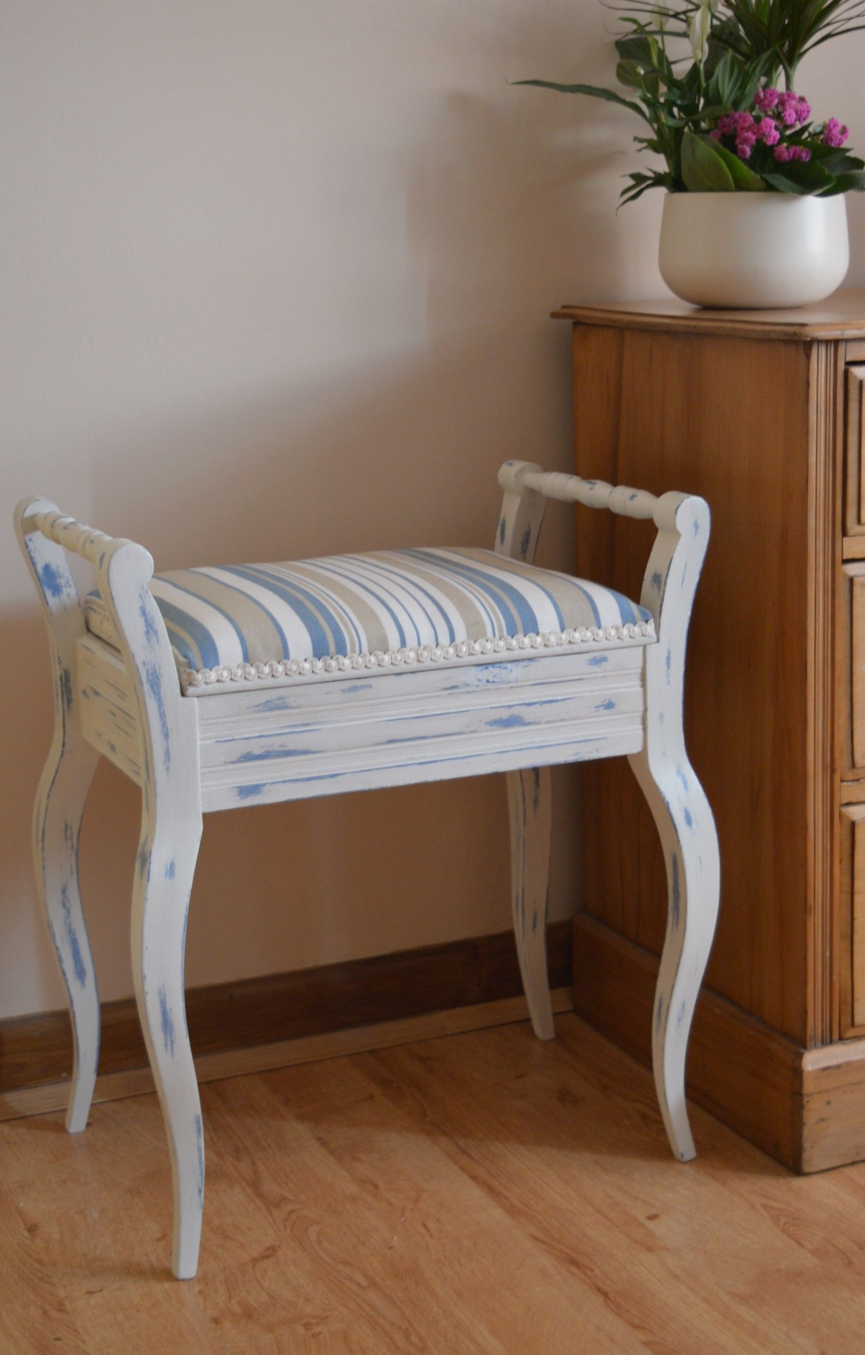 This Piano Stool Won Its Stripes After A Complete Reupholstery Make Over Upholstered Furniture Upholstered Chairs