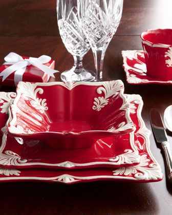 12-Piece Red Square Baroque Dinnerware Service & Four Square Baroque Cups u0026 Saucers | Dinnerware Squares and Dishes
