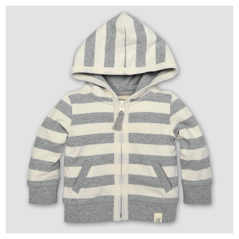 9db61bf92a1c Burt s Bees Baby Toddler Boys  Striped French Terry Zip Hoodie ...