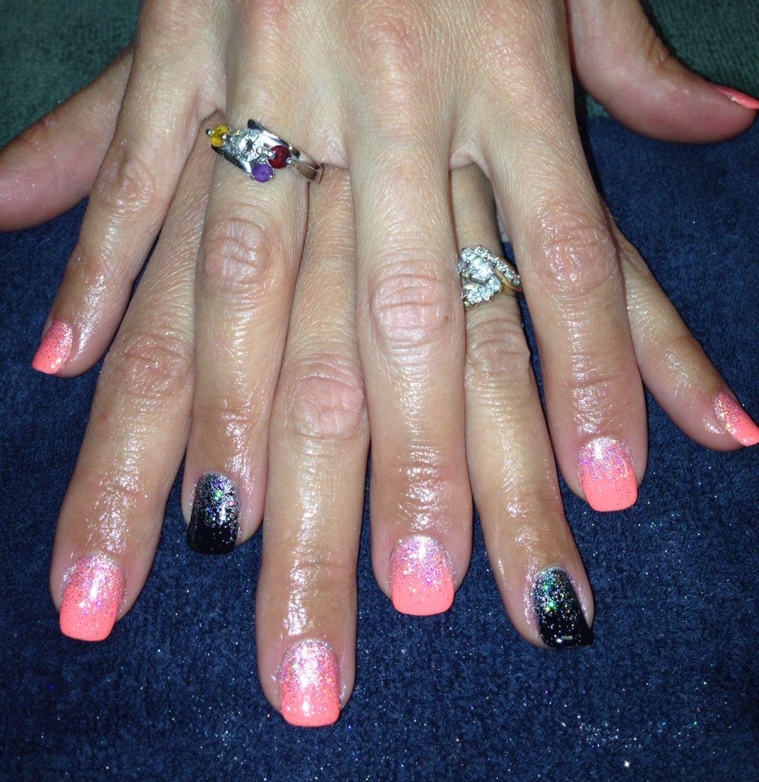 Bright nails gelish gel shellac glitter fade nailart