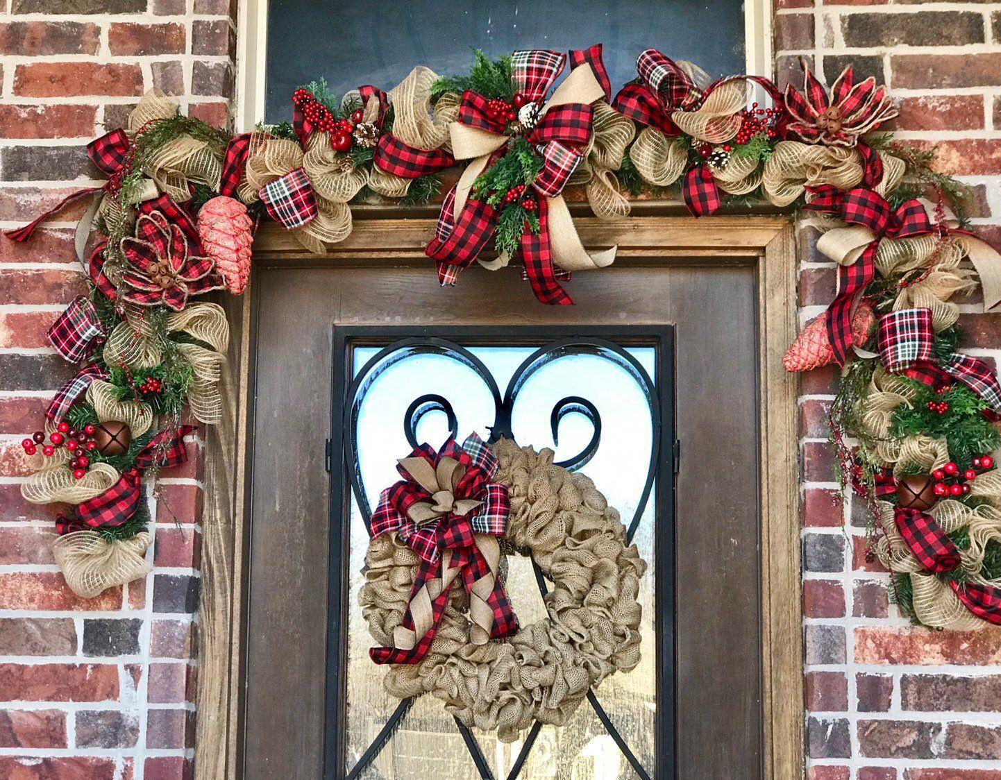 Buffalo Plaid Garland Rustic Farmhouse For Front Door Garland Etsy Winter Garland Christmas Garland Plaid Christmas Decor