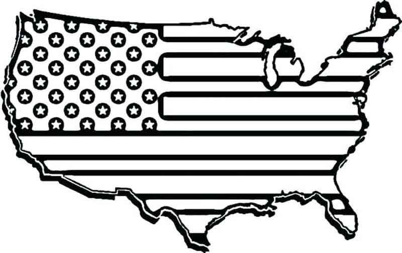 United States Flag Map Coloring Page