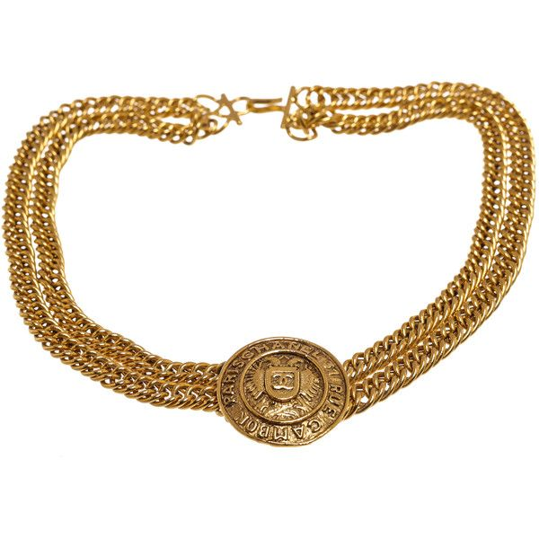 PreOwned Chanel Gold Medallion Double Chain Choker Vintage Necklace