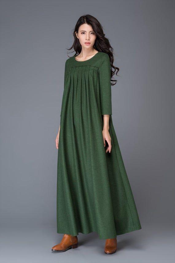 Green dress, Wool dress, winter dress, maxi dress, womens dress, pleated dress, green wool dress, maxi wool dress, womens wool dress C1013.