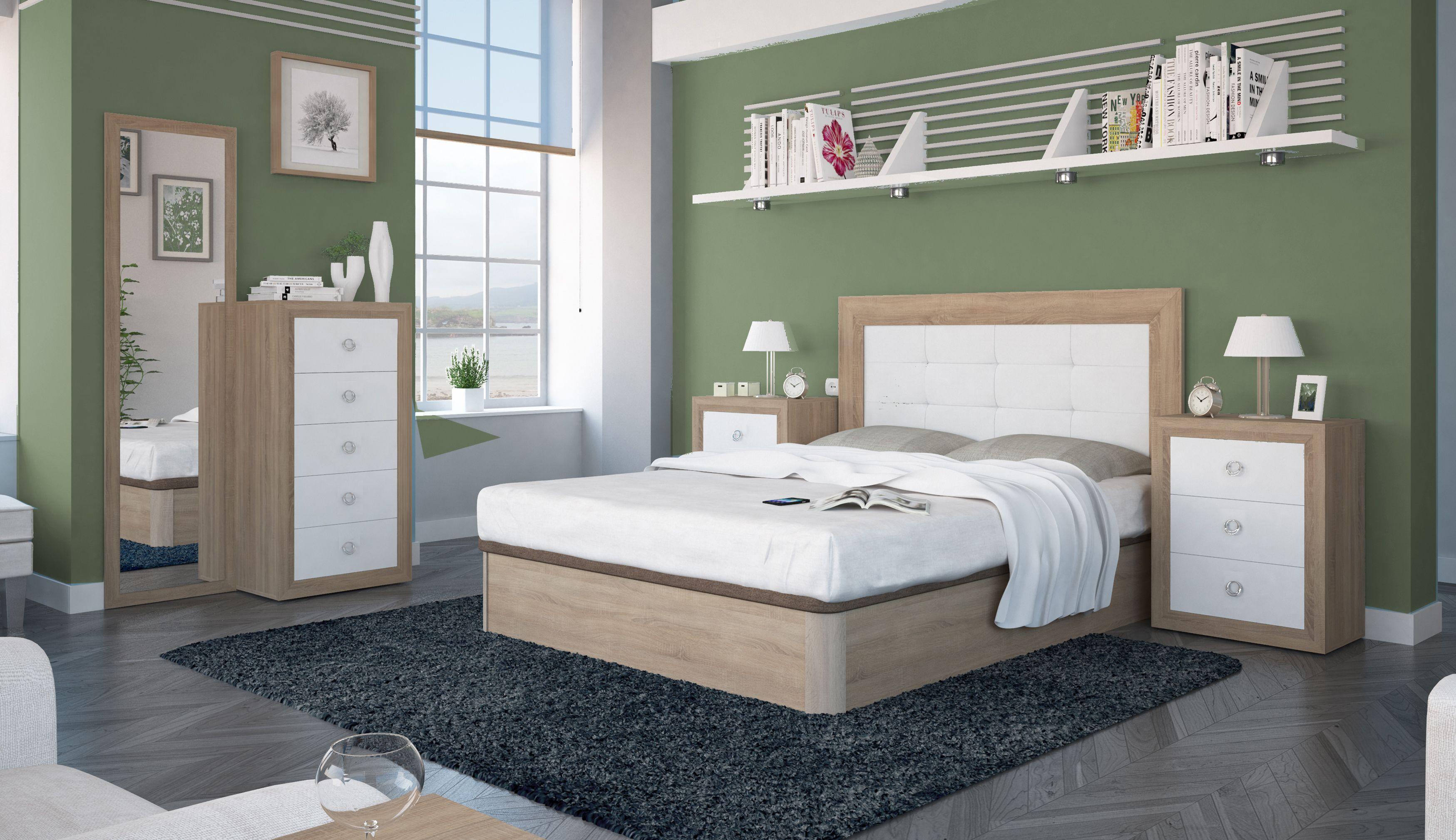 Dormitorio de matrimonio formado por: Cabecero tapizado, dos mesitas ...