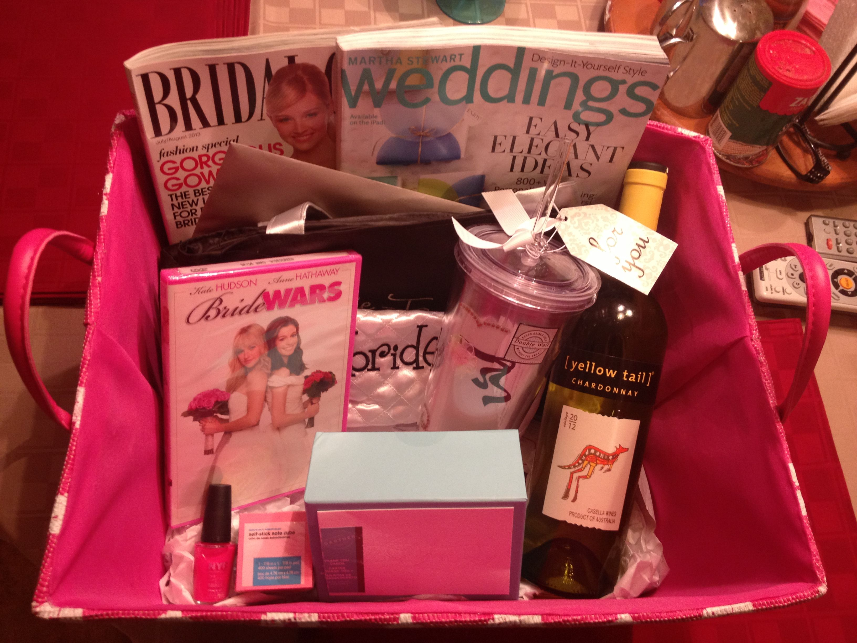 Engagement Basket Idea Magazines Thank You Cards Bride Makeup Bag And Bride Tote From Michael S Nail Polish Bride Gift Basket Thoughful Gifts Bride Gifts