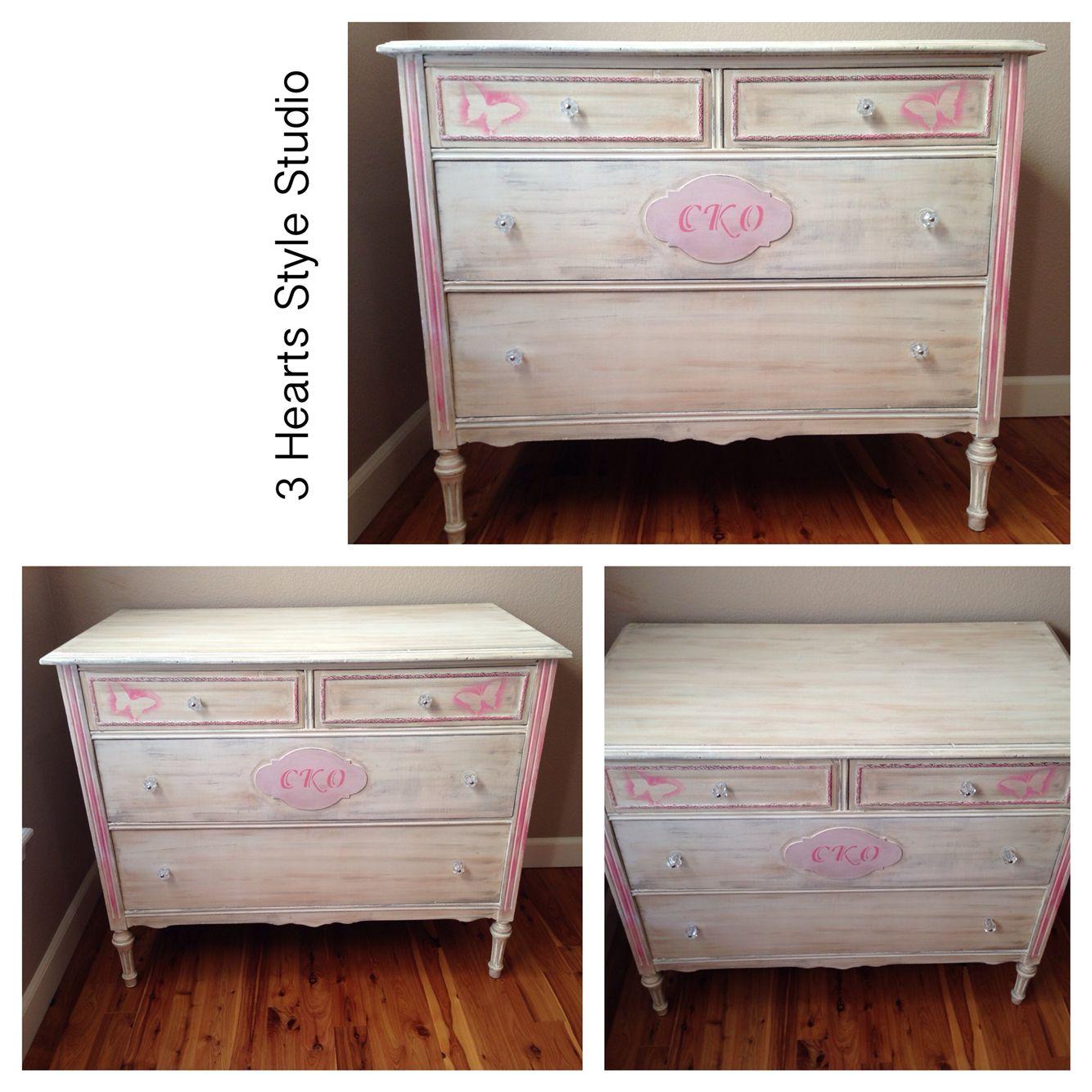 Pink And Cream Antique Dresser. Monogrammed Dresser. Painted Furniture  Denver And Colorado Springs.