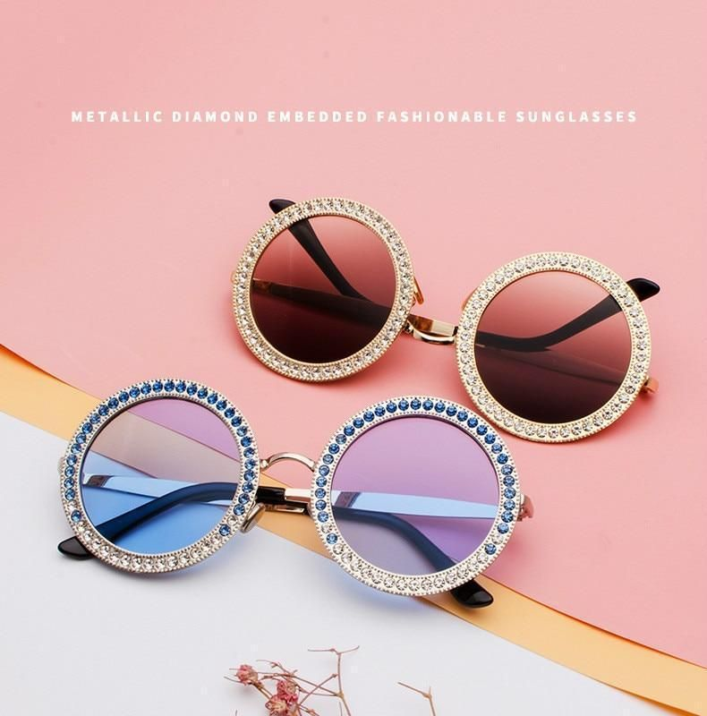 Vintage Luxury Round Sunglasses Crystal Sunglasses Round Sunglasses Sunglasses Women