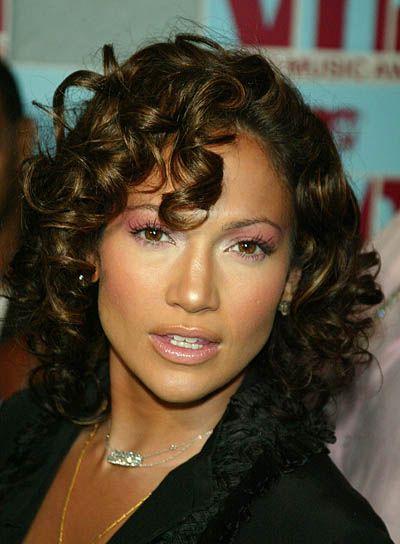 Jennifer Lopez Medium, Brunette, Curly Hairstyle
