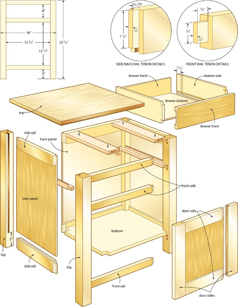 Classic night stand woodworking plans 4 pinteres for Nightstand plans
