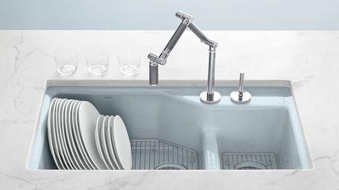 Kohler Enameled Cast Iron Kitchen Sink In Pale Blue