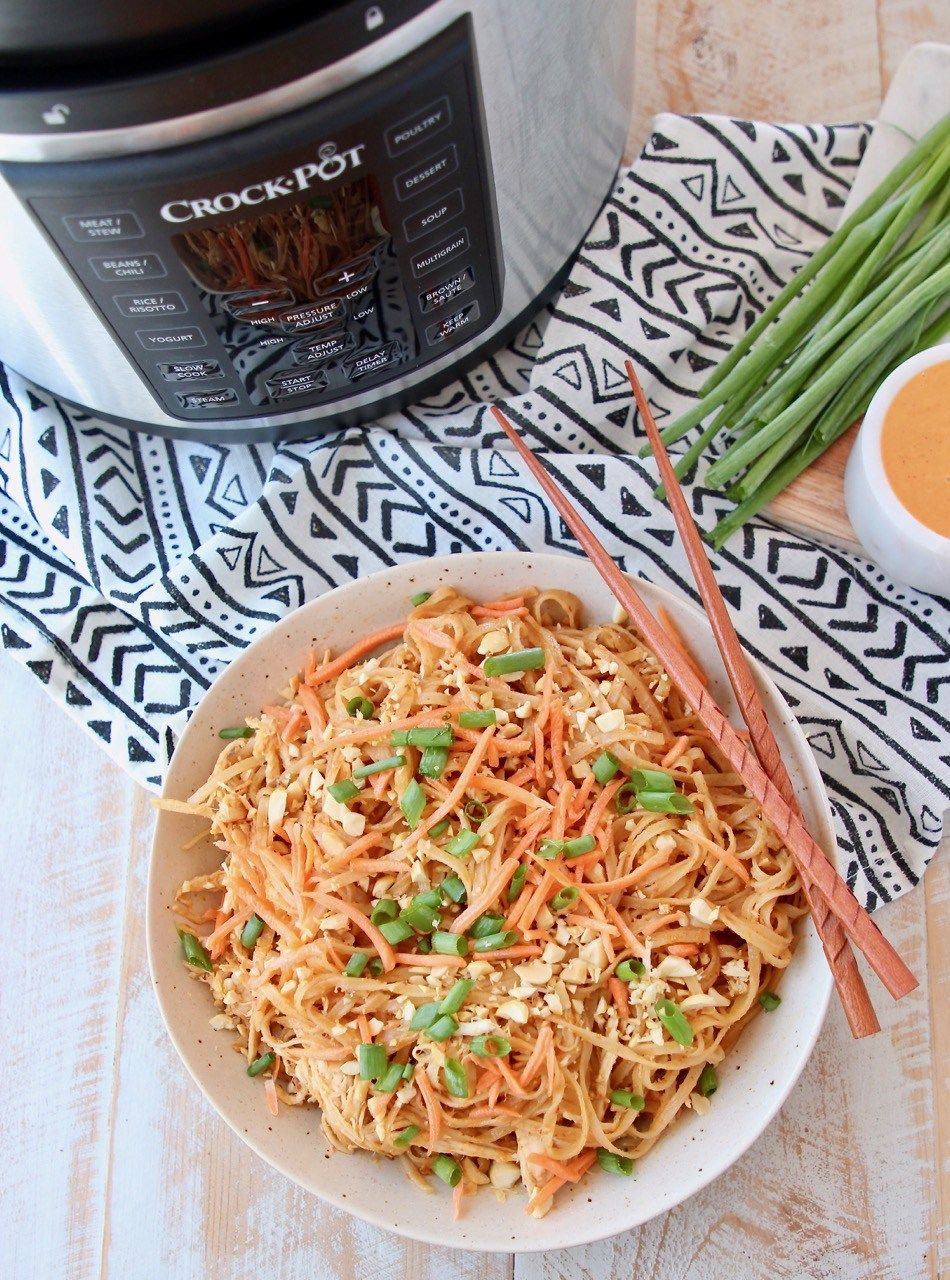 Pressure Cooker Thai Peanut Chicken Noodles Made In The Crockpot Express Crock Multi Cooker In