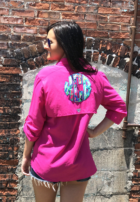 Preppy Lilly Pulitzer Monogrammed Columbia PFG Fishing Shirt Cover ...