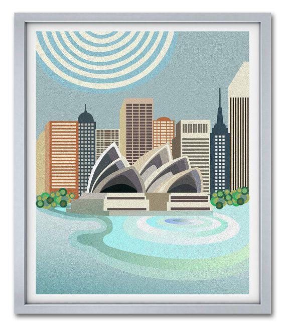 Sydney  Skyline, Sydney Print, Sydney Australia, Sydney Opera House, Travel Poster, Travel Artwork