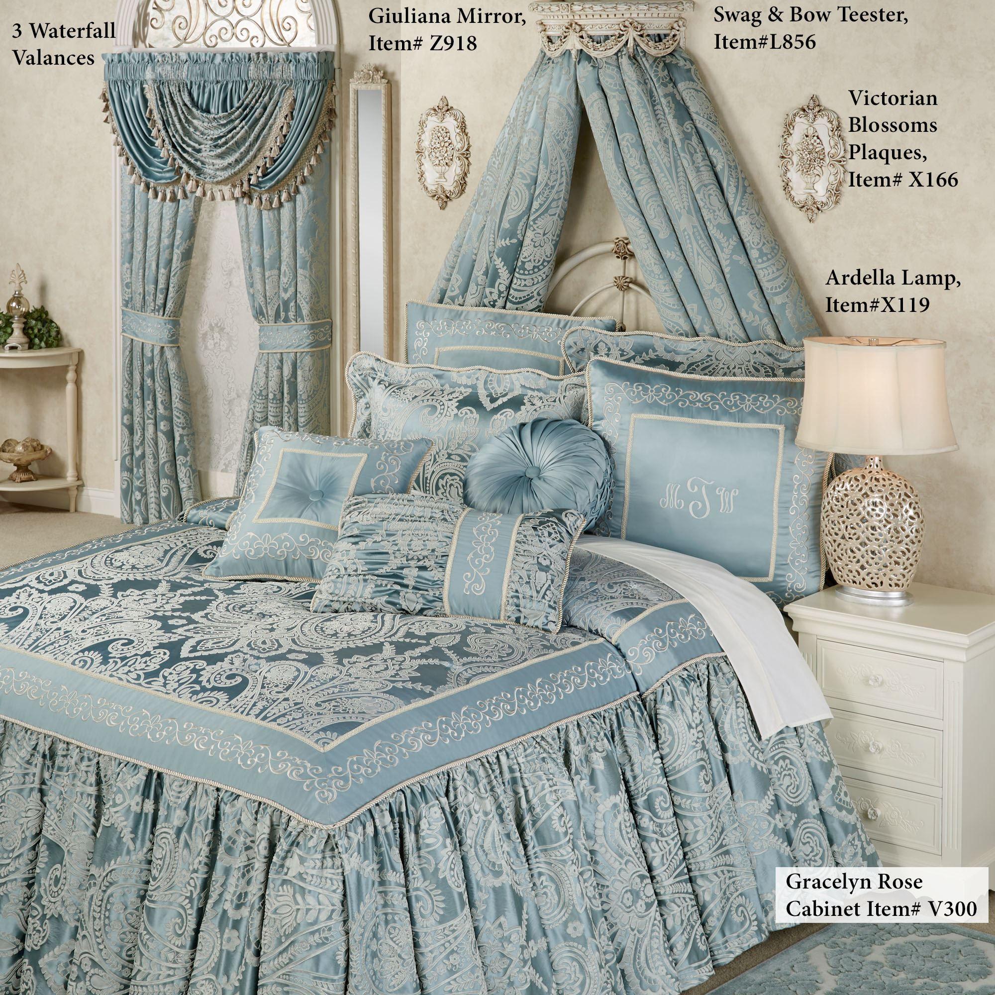 Regency Parisian Blue Grande Flounce Bedspread Bedding Purple