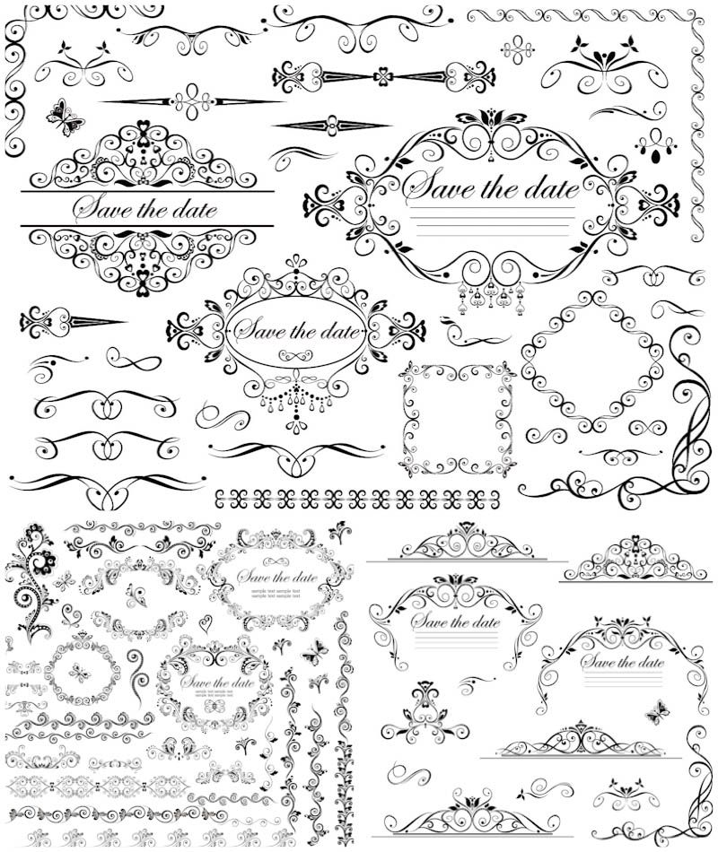 vector Wedding decorative frames and borders vector