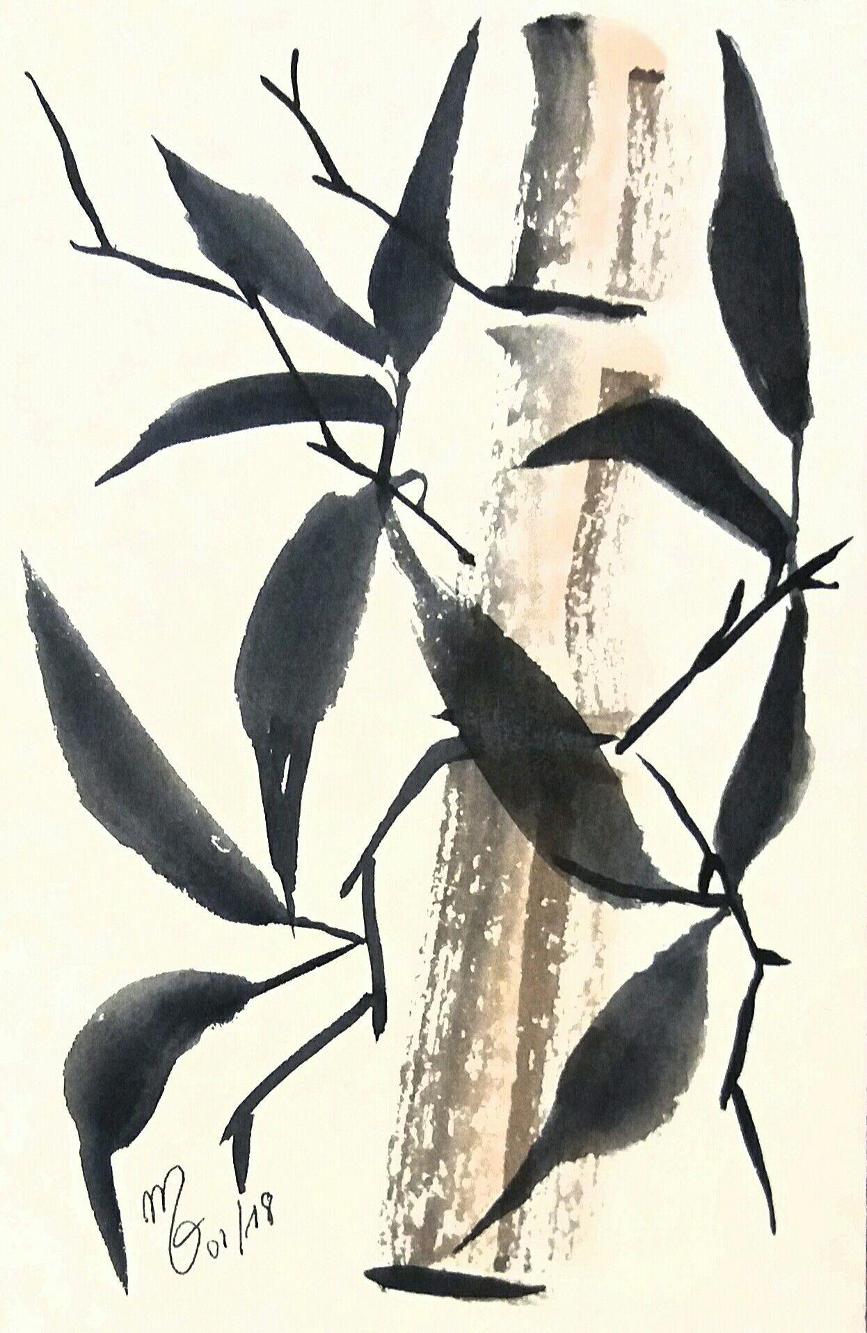 Aquarelle M P Desormiere Bambou Aquarelles Watercolor Bambou