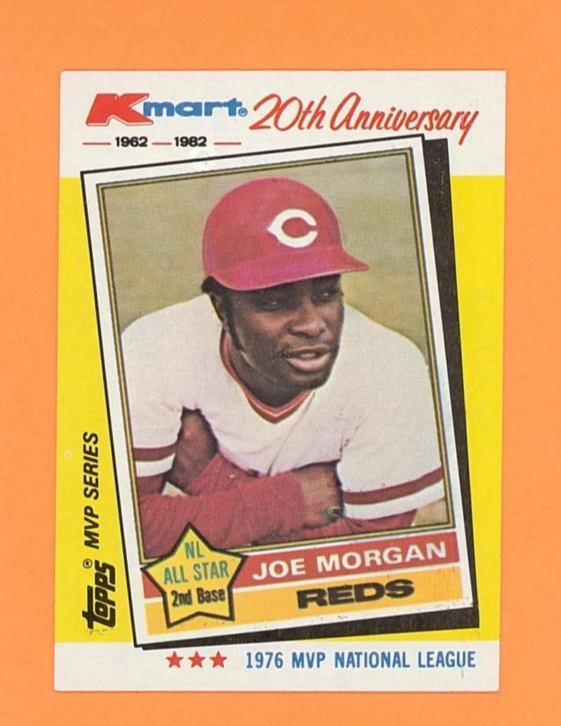 Joe Morgan 1982 Kmart 20th Anniversary Topps Card Cincinnati