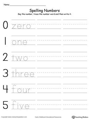 Tracing and Writing Number Words 0-5 | Writing numbers, Number ...