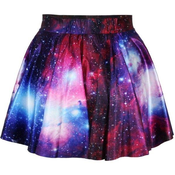 Erlking Women's Basic Versatile Galaxy Stretchy Flared Skater Skirt... ($8.05) ❤ liked on Polyvore featuring skirts, bottoms, galaxy skirt, stretch skirt, skater skirt, stretchy skirt and circle skirt