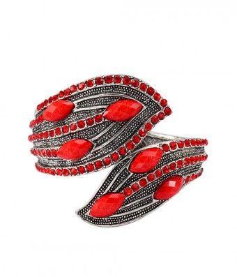 'Asymmetry Leaves' Red Resin Stone Bypass Bracelet