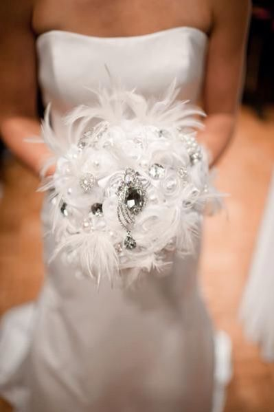White Feathers and Rhinestone Brooches Bouquet
