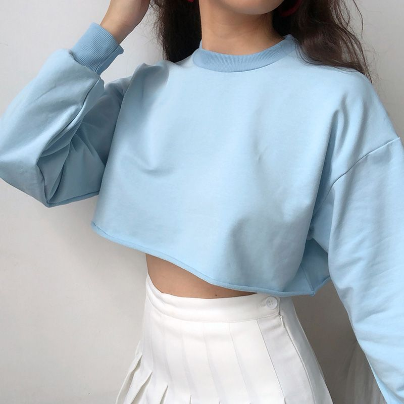 4 Colors Loose High Waist Short Section Long Sleeved Solid Color Sweater From Fe Clothing Baby Blue Outfit Solid Color Sweater Blue Sweater Outfit