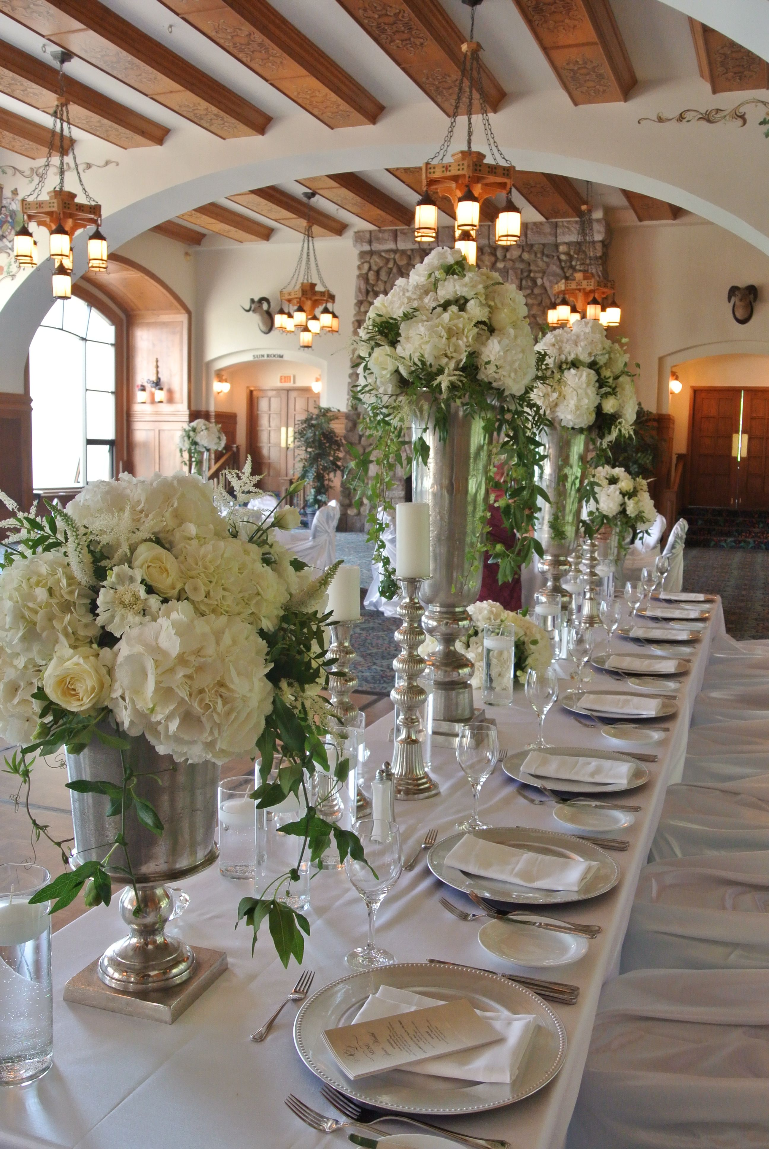 Charming Large Table Centerpieces With Hydrangea, Roses, Dahlias, Lisimachias,  Tanacetum, Nigelas, Astilbes And Passion Flowers. Designed By Forget Me Not  Flowers, ...