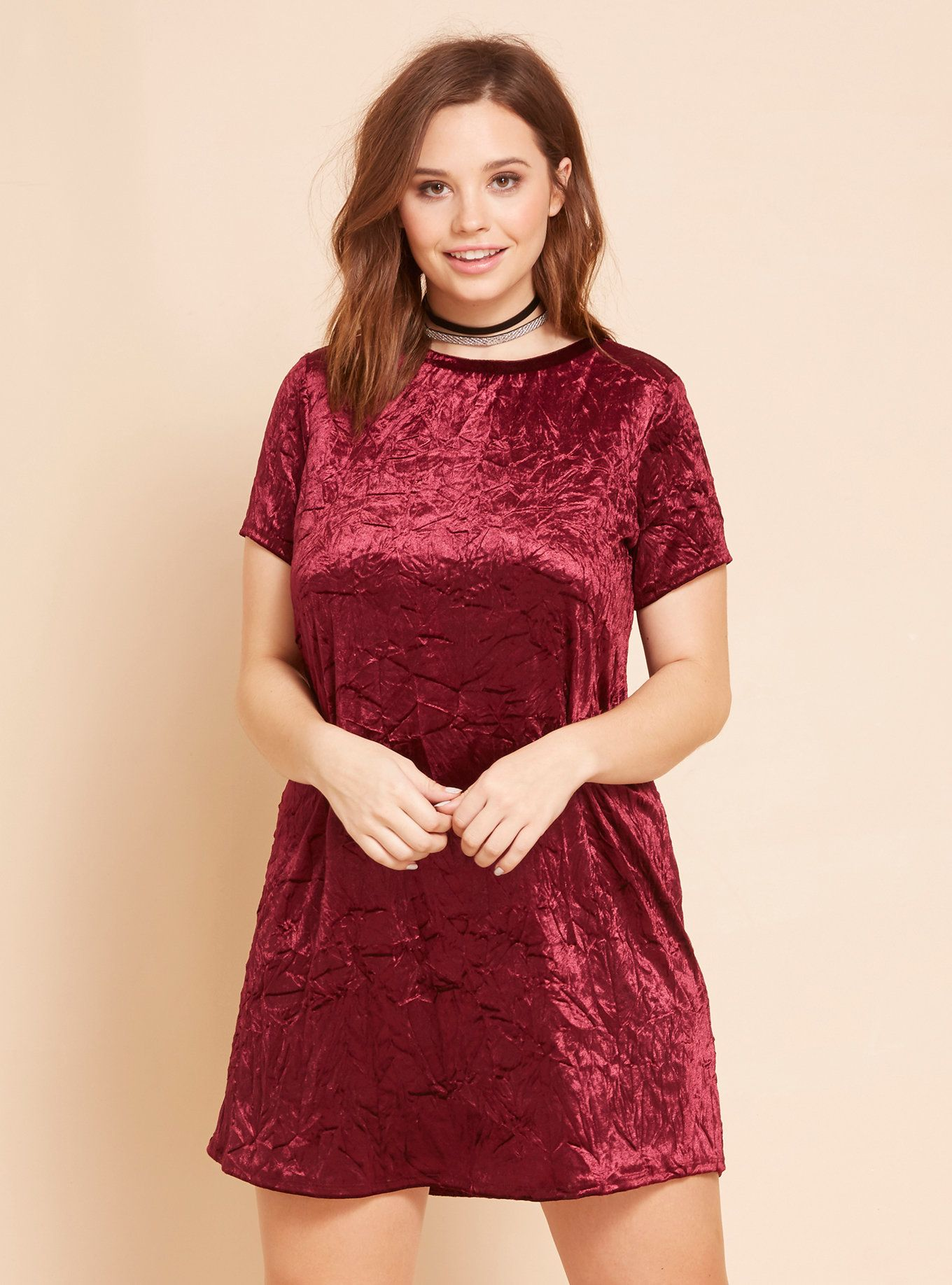 3ce408f1a5f28 Crushed Velvet T-Shirt Dress