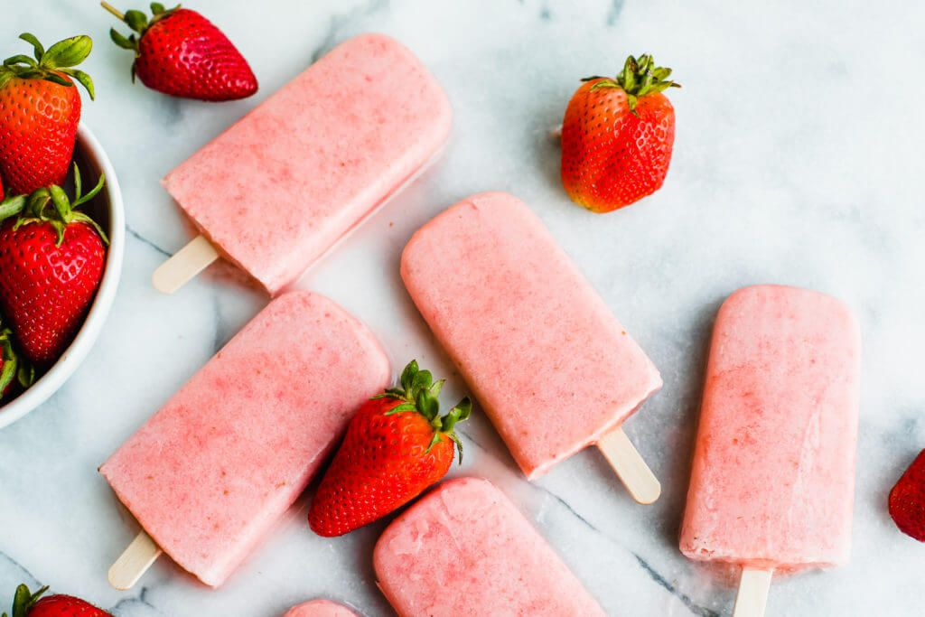 Guilt-Free Paleo Strawberry and Cream Popsicles - Healthy Little Peach