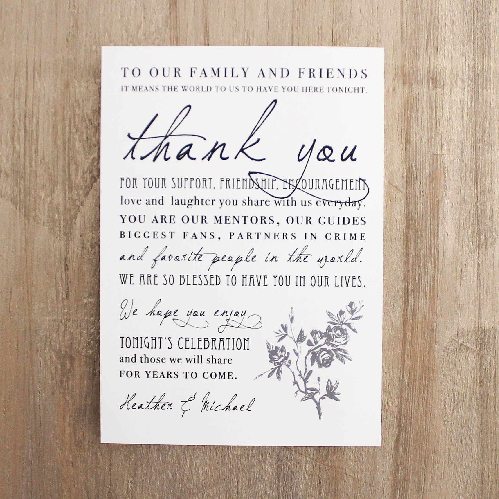Having a traditional themed wedding? With All White, Beacon Lane offers a gray & ivory reception thank you style that is customizable to fit your wedding.